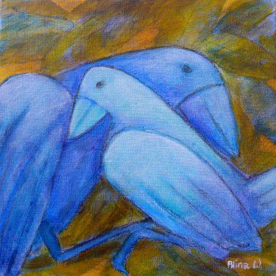 Alina Witwitzka - Painting - Bird Family