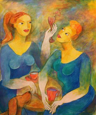 Alina Witwitzka - Painting - Conversation at coffee