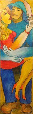 Alina Witwitzka - Painting - Meeting at sunset 2