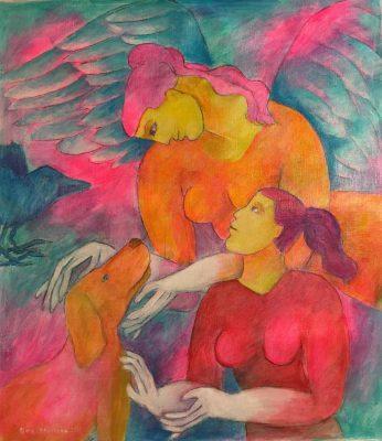 Alina Witwitzka - Painting - Meeting at sunset