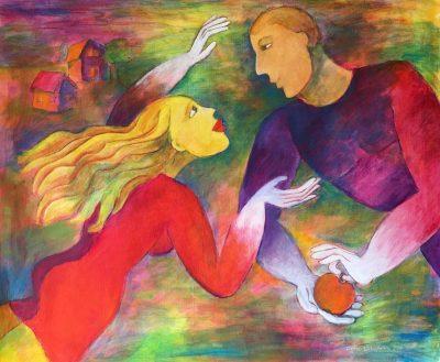 Alina Witwitzka - Painting - Paradise apple