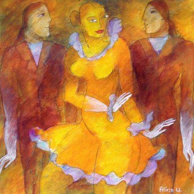 Alina Witwitzka - Painting - Spanish dancing
