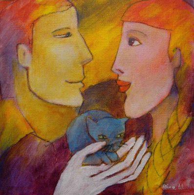 Alina Witwitzka - Painting - The little cat