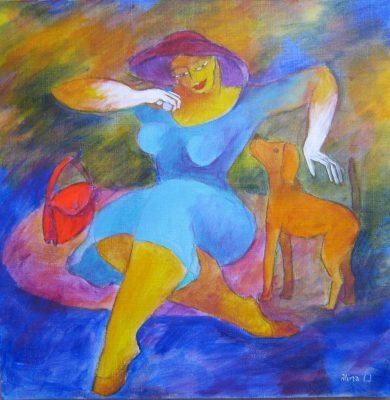 Alina Witwitzka - Painting - Unexpected meeting